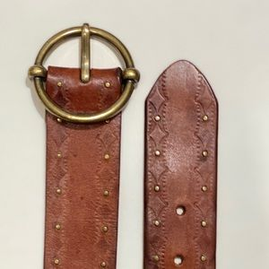 AEO American Eagle brown leather brass buckle BELT